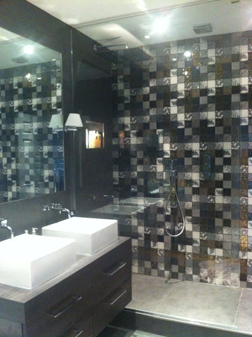 Wet room ensuite with his and hers drawer sink units black and white bathroom