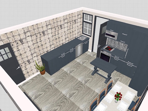 render showing kitchen layout fleur ward interior design