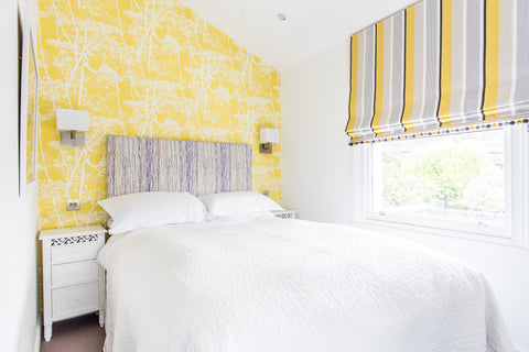 yellow, lilac and white bedroom fleur ward