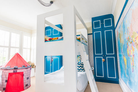 Boys room design and decor. double bunk bed wall mural and bright wardrobes