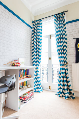 Boys room design and decor. double bunk bed wall mural and bright wardrobes. chevron curtains and joinery