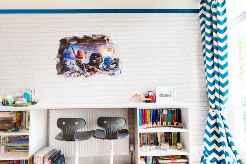 Boys room design and decor. double bunk bed wall mural and bright wardrobes. chevron curtains and lego wall decal