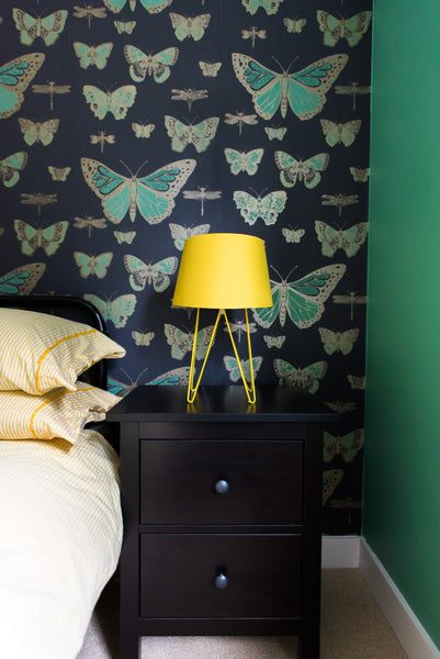 farrow and ball arsenic on walls cole and son wallpaper green and yellow scheme