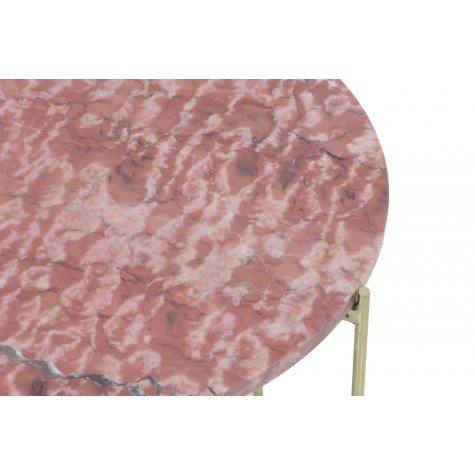 Nest of Pink marble and gold circular side tables.  Ohh Fleur