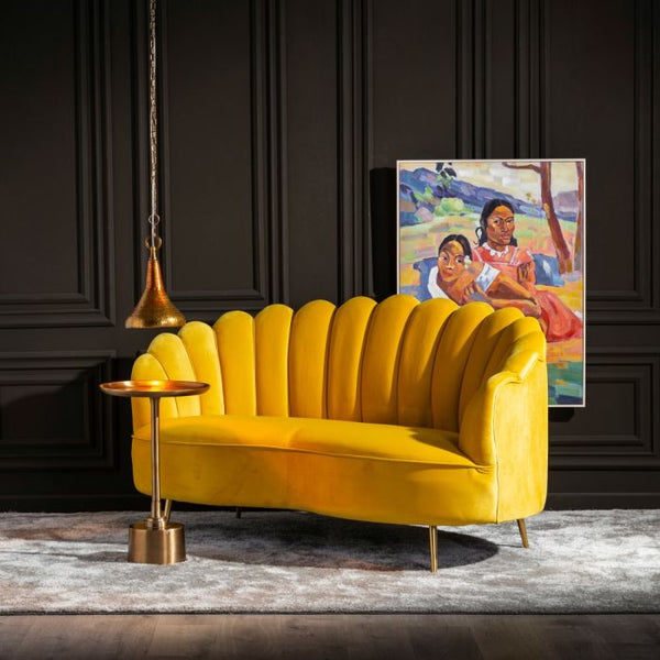 yellow 2 seater sofa