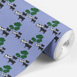 Roll of Lavender wallpaper with cows and parsley on it