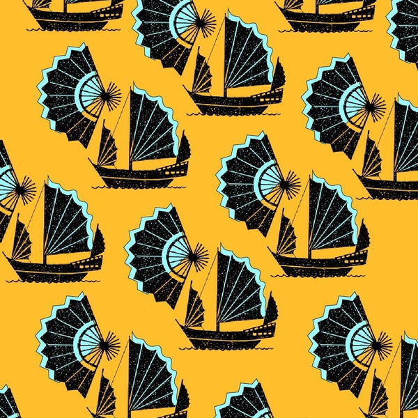 Fan of Junk Wallpaper Inspired by the junk boats of china that weren't designed to be glamorous but functional and sturdy, juxtaposed with a fan which was functional, delicate and highly decorative and desirable. Polar opposite objects yet with a similar aesthetic. chinoiserie