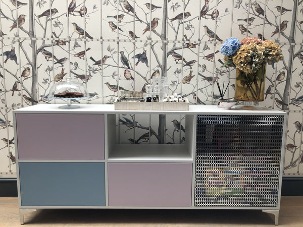 sideboard with painted doors and drawer with industrial mesh cupboard