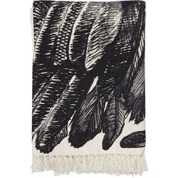 Wool fringed throw with Feather motif