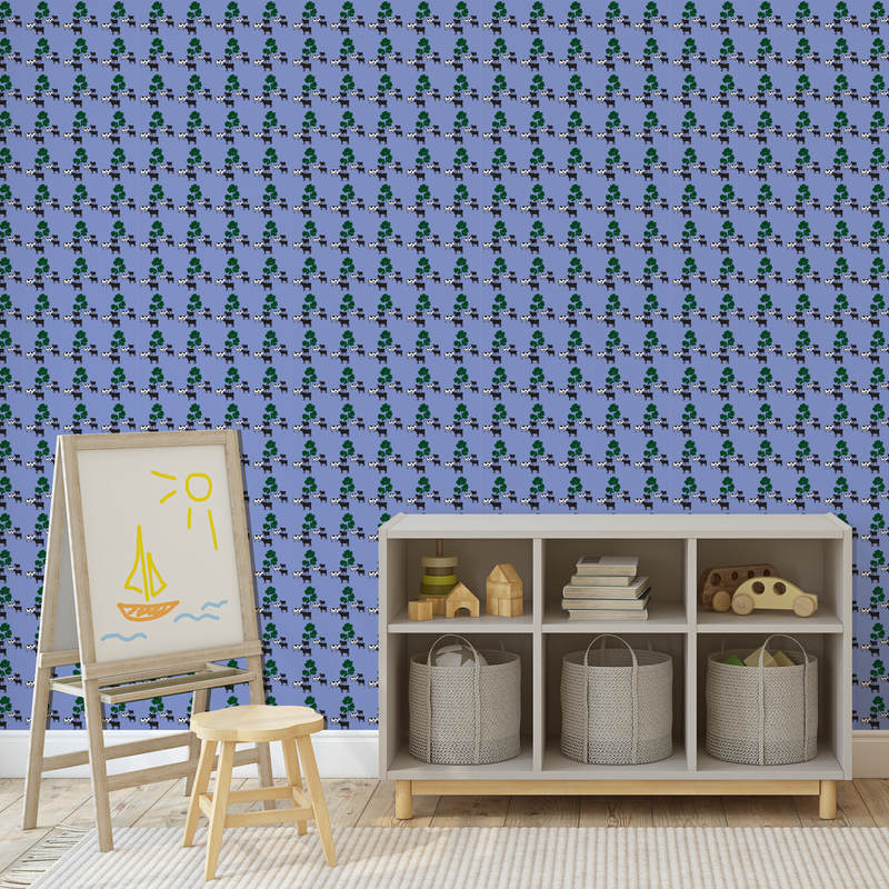Lavender wallpaper with cows and parsley on it on a wall in a toddler room with a storage cabinet and whiteboard