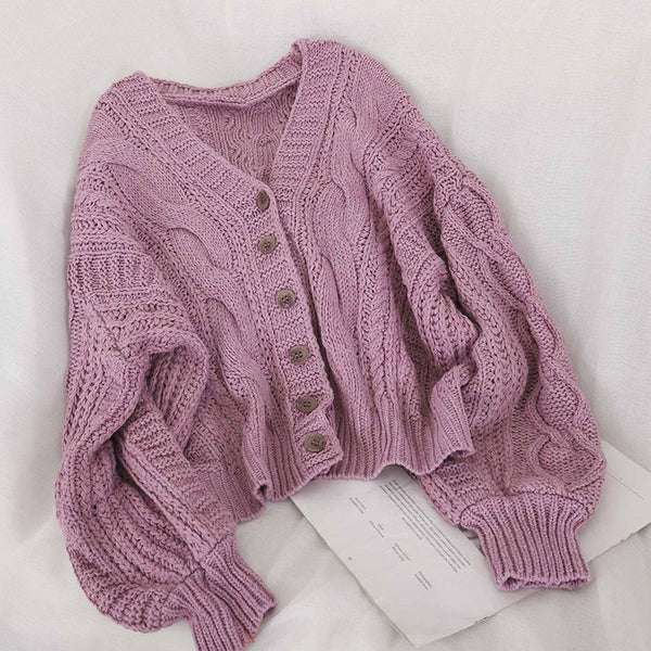 V-neck Knitted loose Cardigan
