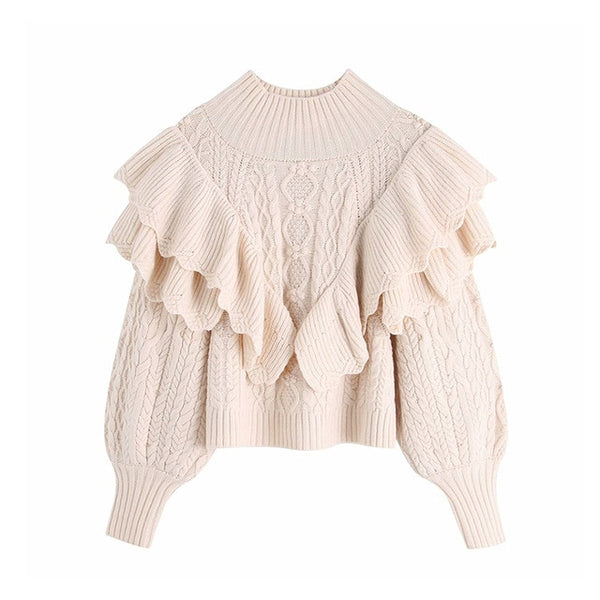 Ruffled Cropped Knitted Sweater