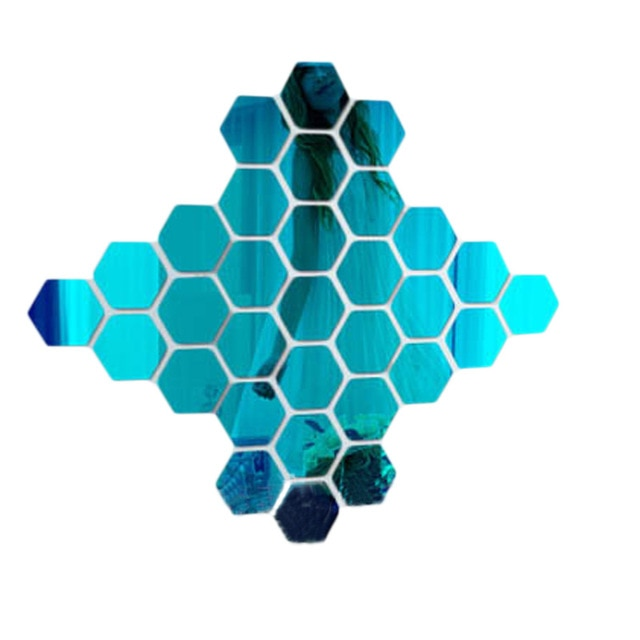 12Pcs 3D Hexagon Acrylic Mirror Wall Stickers