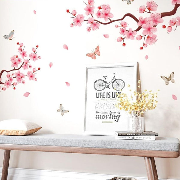 Pretty Wall decal of peach blossom trailing across the wall. Chinoiserie style wall decor.  Not everyone can afford De Gournay so this might be a more accessible hand painted wall application.