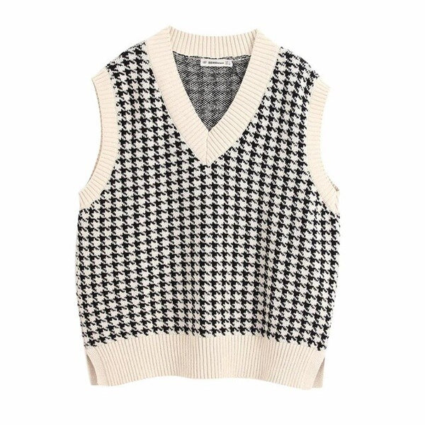 Hounds tooth Vest in cream with black