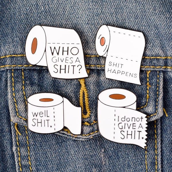 Shit happens and other phrases. Enamel pin