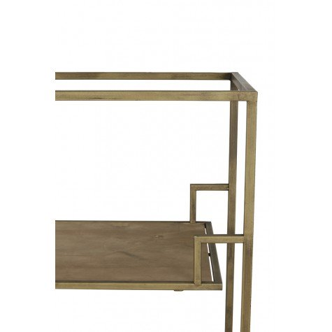Gold and Wood shelving unit