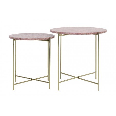 Pink marble and gold side tables