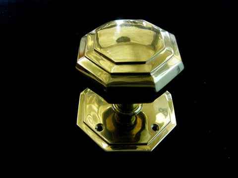 Brass Door Knob - Octagon Tiered