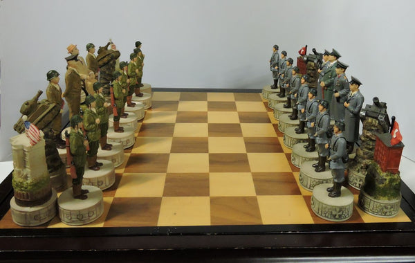 themed chess set  World War II hand painted global conflict WWII historical Hitler Roosevelt board game home decor shop buy Vancouver BC Canada military