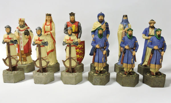 Historical themed chess set  Crusaders pieces hand painted military campaigns Roman Catholic Church Ottomans polystone ceramic board game home decor shop buy