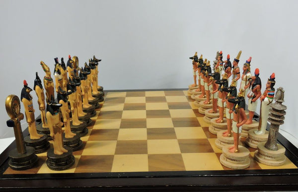 themed chess set  detailed hand painted pieces ceramic polystone ancient Egypt gods Sobek, Anubis, Thoth, Ra, Khepry, Isis, Osiris, Amun  board game home decor shop
