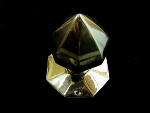 Brass Door Knob - Octagon Cone