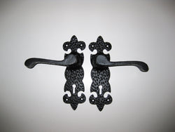 Black Wrought Iron Handle with Keyhole One Pair rustic heritage hardware door hardware keyhole lever handle textured fleur de lis