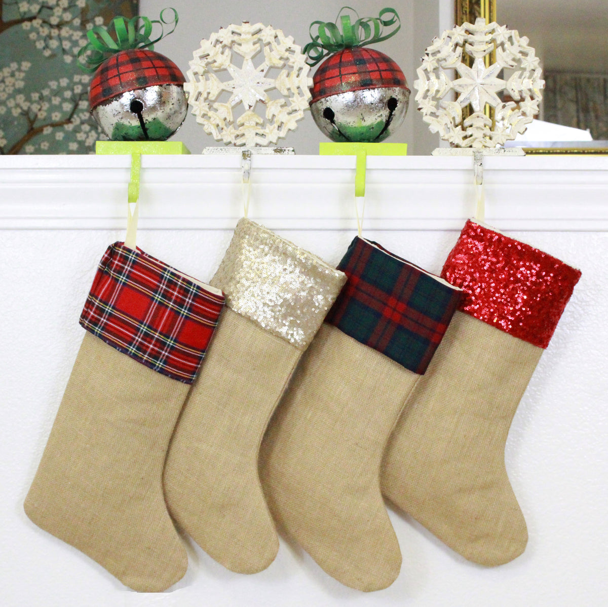 Burlap Christmas Stockings.Burlap Christmas Stockings Set Of 4 Strong And Durable Handmade In Usa