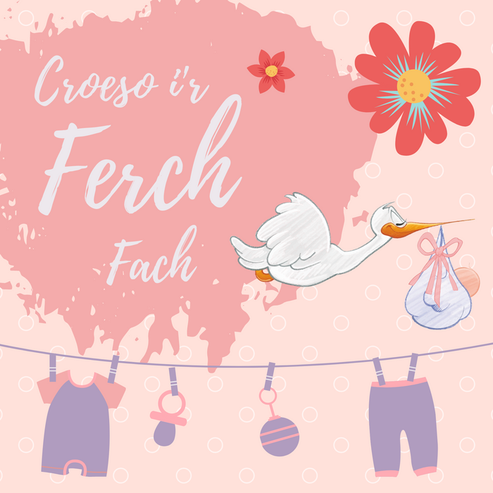 Cerdyn Croeso i'r Ferch Fach | On The Birth of Your Daughter Card