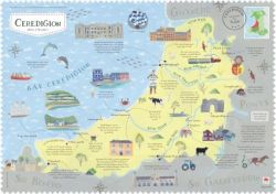 Wales On The Map Ceredigion Poster - Siop Y Pentan