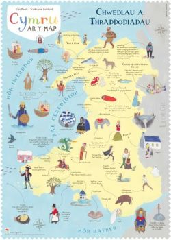Wales Poster on the Map: Legends and Traditions - Siop Y Pentan
