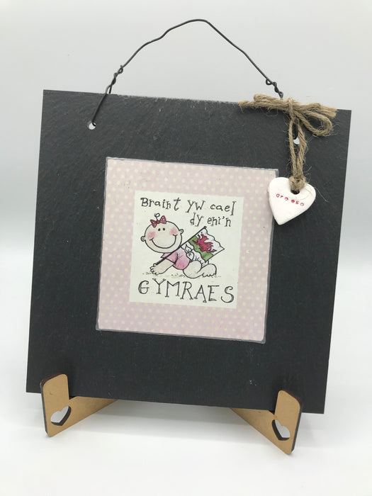 It is a privilege to be born Welsh Slate Square - Siop Y Pentan