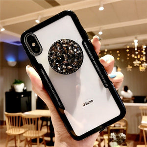 3D Diamond Pop Socket iPhone & Samsung Case-Online Best Deals-Black-for iphone XR-Online Best Deals