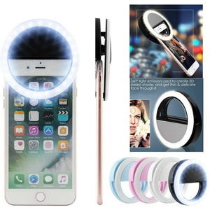 Universal Selfie LED Ring Flash Light For iPhone & Samsung