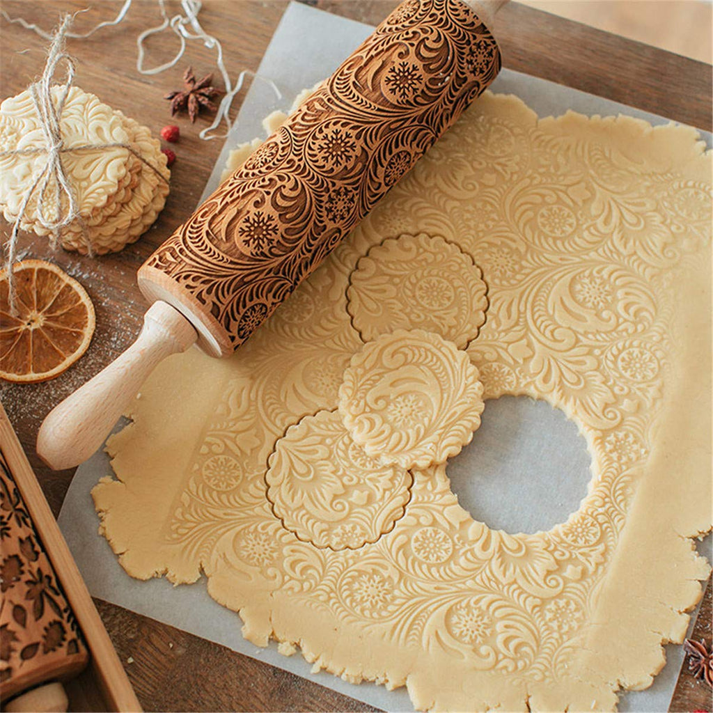 Wooden Embossing Rolling Pin For Cookies & Baking-Online Best Deals-Snowflake 1-40 CM-Online Best Deals