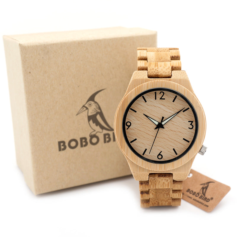 Wooden Bamboo Quartz men Watch with Luminous Hands-Online Best Deals