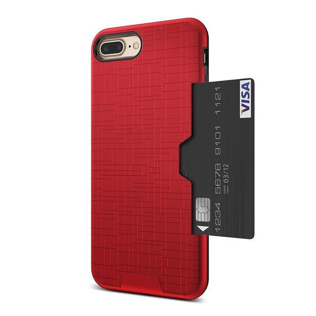 Card Slot Phone Case For iPhone-Online Best Deals-Red-For iPhone 7-Online Best Deals