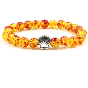 8mm Bracelet Stone Beads Dog Cat Paw-Online Best Deals-orange-Online Best Deals
