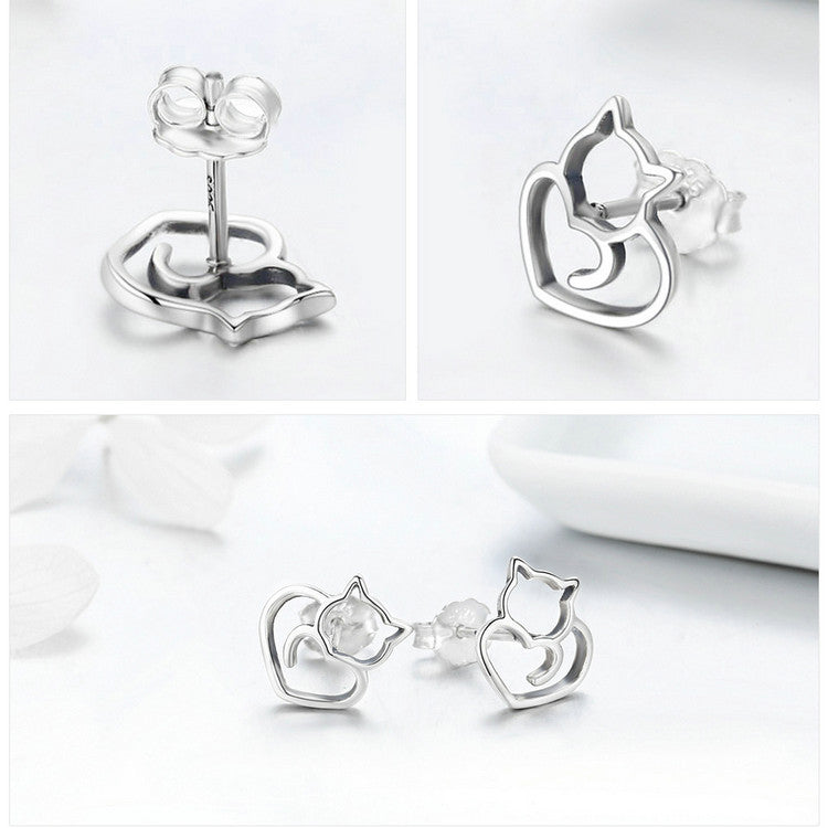 Authentic 925 Sterling Silver Cute Cat Earrings-jewelry-Online Best Deals-Online Best Deals