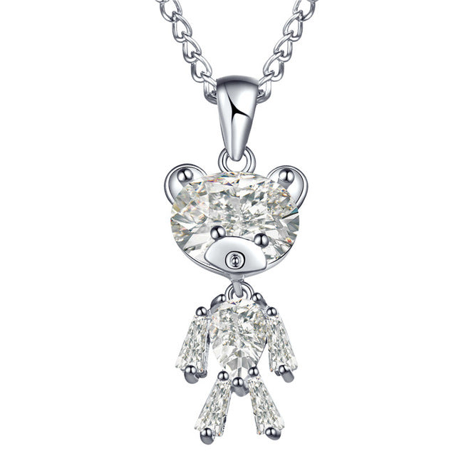 Zircon Bear Pendant Necklace For Woman-Online Best Deals-Silver-Online Best Deals