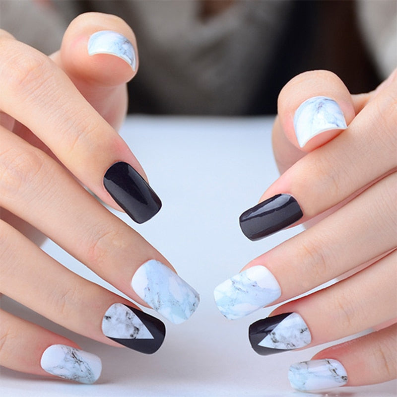 White Black Gradient Marble Nail Art Sticker-Online Best Deals