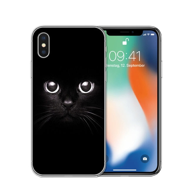 Cat Staring Eyes Soft TPU Phone Case For iPhone X 5S SE 6 6S 7 Plus 8 8Plus-Online Best Deals-T0419-For iPhone 7-Online Best Deals