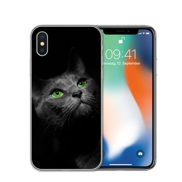 Cat Staring Eyes Soft TPU Phone Case For iPhone X 5S SE 6 6S 7 Plus 8 8Plus-Online Best Deals-T0584-For iPhone X-Online Best Deals