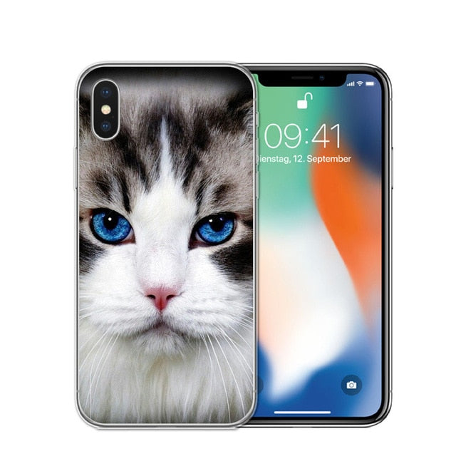 Cat Staring Eyes Soft TPU Phone Case For iPhone X 5S SE 6 6S 7 Plus 8 8Plus-Online Best Deals-T0587-For iPhone X-Online Best Deals