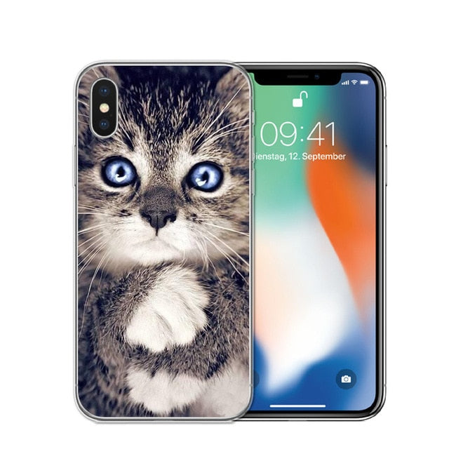 Cat Staring Eyes Soft TPU Phone Case For iPhone X 5S SE 6 6S 7 Plus 8 8Plus-Online Best Deals-T0588-For iPhone X-Online Best Deals