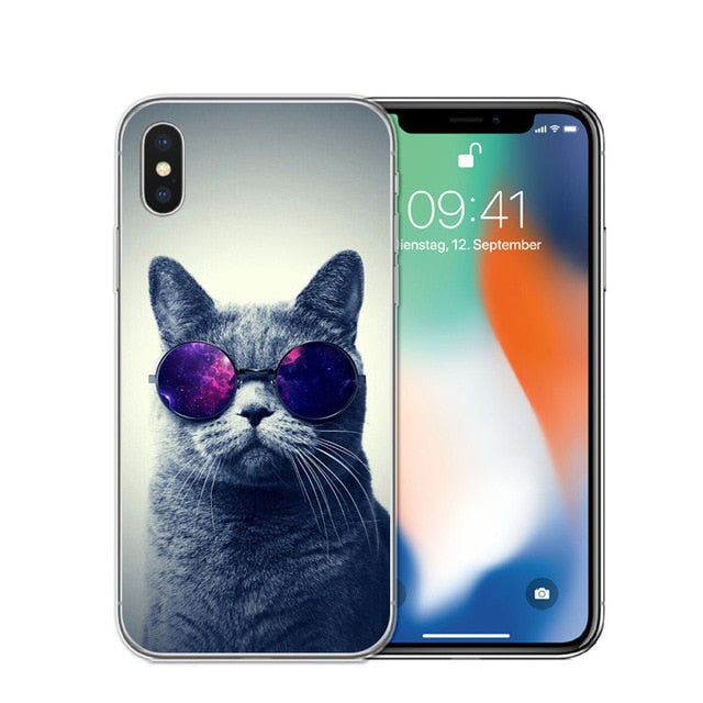 Cat Staring Eyes Soft TPU Phone Case For iPhone X 5S SE 6 6S 7 Plus 8 8Plus-Online Best Deals-T0589-For iPhone X-Online Best Deals