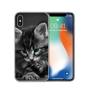 Cat Staring Eyes Soft TPU Phone Case For iPhone X 5S SE 6 6S 7 Plus 8 8Plus-Online Best Deals-T0590-For iPhone X-Online Best Deals