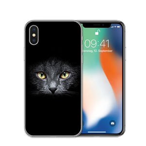 Cat Staring Eyes Soft TPU Phone Case For iPhone X 5S SE 6 6S 7 Plus 8 8Plus-Online Best Deals-T0593-For iPhone X-Online Best Deals