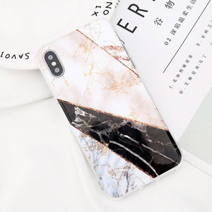 Glitter Powder Marble Phone Case For iPhone-Online Best Deals-7575-For iPhone X-Online Best Deals